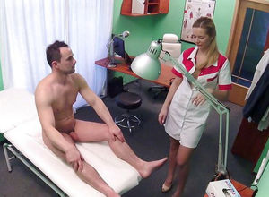 Beautiful nurse blows a patient, CFNM..