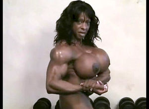 Real ebony chicks bodybuilder with..
