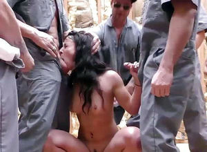Horny group-fucked on a construction..