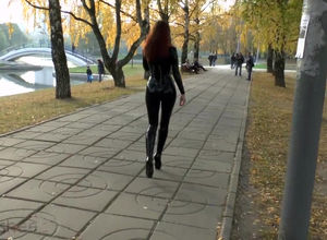 Beautiful gal in spandex catsuit and..