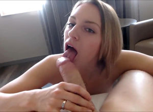 Blond does filthy and slutty bj