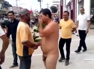 Portuguese guy ambling bare in public..