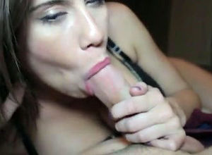 Adorable gf gives spunky blowjob, when..