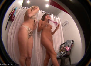 2 huge-chested gals in spycam  in..