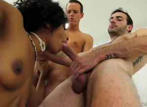 Black hotty group-fucked by milky..