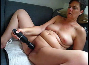 Sex-starved mature thrusts hitachi as..