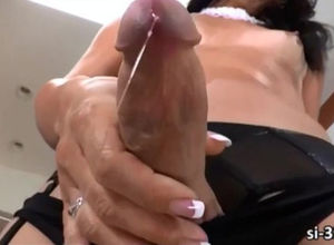 T-girl with ample cock head spunking..