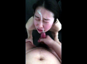 Japanese maid gets sloppy facial..