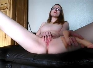 Skinny English nymph jerking on the sofa