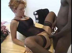 Curly wifey in harness gets boned by..