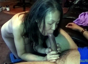 Japanese slutwife measuring weenie at..