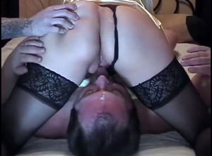 Hotwife husband gobble coochie of his..