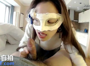Asian damsel in mask deepthroat and..