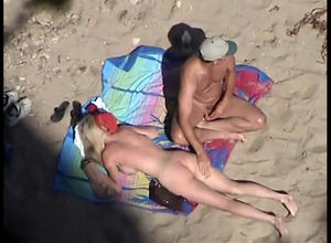 Candid beach hookup and naturist flick..